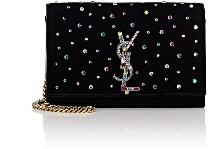Saint Laurent Women's Monogram Kate Velvet Chain Wallet