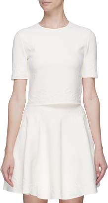 Alexander McQueen Wavy jacquard cropped top