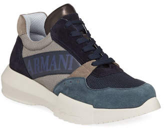 Giorgio Armani Men's Logo-Embossed Suede-Trim Trainer Sneakers