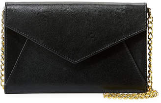 Neiman Marcus Saffiano Leather Envelope Flap Wallet on Chain
