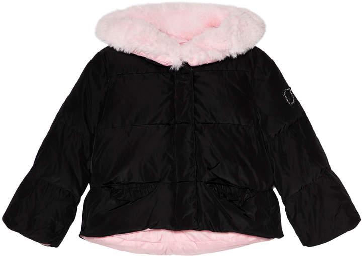 Monnalisa Black and Pink Cropped Hooded Ski Coat