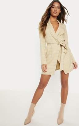 PrettyLittleThing Stone Checked Blazer Dress