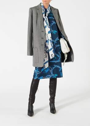 Tibi Renzo Scarf Print Tess Dress with Tie