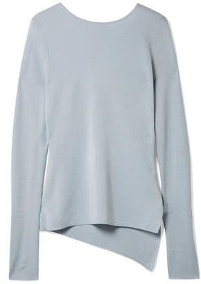 Rosetta Getty Cutout Silk And Cashmere-blend Jersey Sweater - Light blue