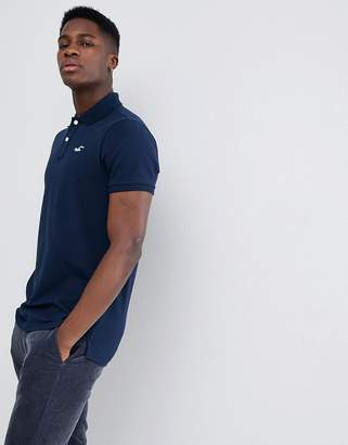 Hollister Solid Core Seagull Logo Polo Contrast Placket in Navy
