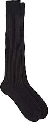 Barneys New York Men's Rib-Knit Cotton-Blend Knee Socks - Charcoal