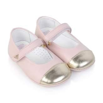 Armani Junior Armani JuniorBaby Girls Pink Leather Pre-Walker Shoes