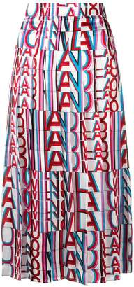 MSGM printed pleated skirt
