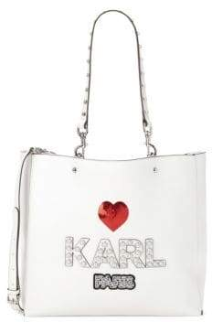 Faux Pearl & Sequin-Embellished Tote