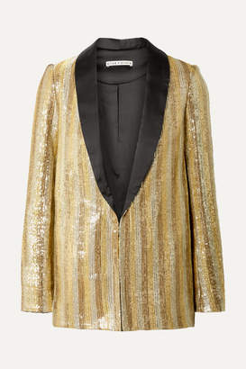 Alice + Olivia Alice Olivia - Jace Oversized Satin-trimmed Sequined Cotton Blazer - Gold