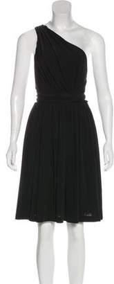 Halston One-Shoulder Sash Dress