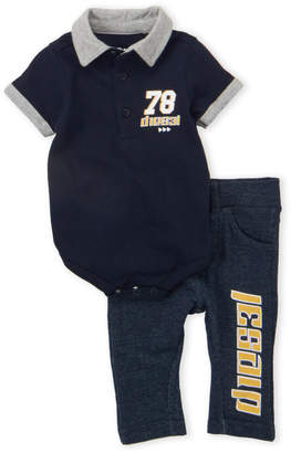 Diesel Infant Boys) Two-Piece Tipped Polo Bodysuit & Pull-On Pants Set