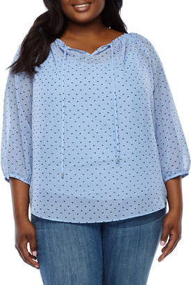 Alyx V Neck 3/4 Sleeve Peasant Top - Plus