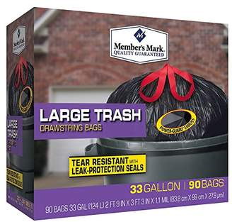 Member's Mark Power-Guard Drawstring Trash Bags 33 gallon(90 ct.)