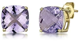 Theia 9ct Yellow Gold Chequerboard Cut Cushion 'Amethyst' Stud Earrings