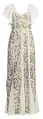 Alice + Olivia Women's Devina Floral Fringe Maxi Dress