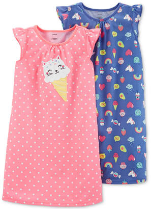 Carter's Carter Big & Little Girls 2-Pack Ice Cream Cone Nightgowns
