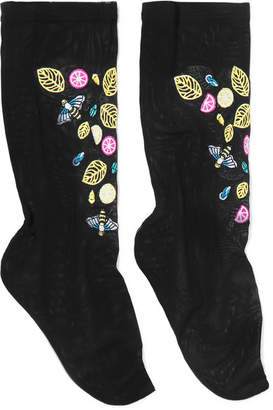 Falke Embroidered Stretch-tulle Socks - Black