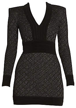 Balmain Women's Long Sleeve V-Neck Diamond Grid Dress
