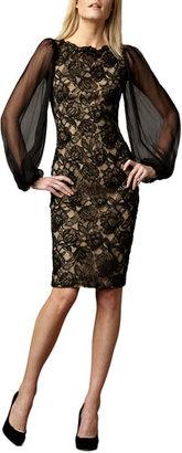 Tadashi Shoji Sheer-Sleeve Lace Cocktail Dress $295 thestylecure.com