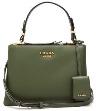 Prada Deux Leather Handbag - Womens - Dark Green