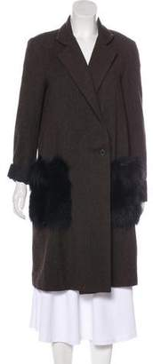 Jenni Kayne Fox-Accented Wool Coat