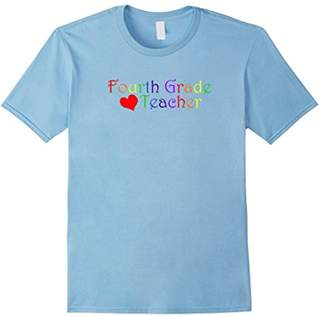 Fourth Grade Teacher Heart Rainbow Colors Novelty T Shirt