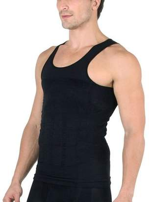 ABS by Allen Schwartz Homax Men's Tummy Trimmer Vest Shirt Abdomen Slimming Undershirts - Black