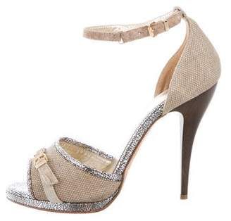 Just Cavalli Canvas Ankle Strap Sandals