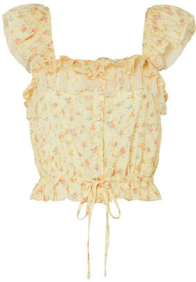 LoveShackFancy Mia Swiss Dot Tulle-trimmed Floral-print Cotton Top - Pastel yellow