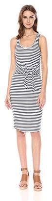 Monrow Women's Stripe Dress with Tie Front