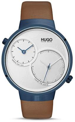 HUGO #TRAVEL Brown Leather Strap Watch, 42mm