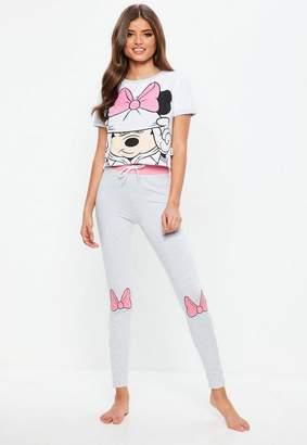 Missguided Gray Minnie Mouse Legging Pj Set
