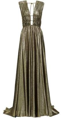 Alberta Ferretti Cutout Gathered Silk-blend Lame Gown