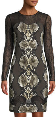 Roberto Cavalli Snake-Print Sheer-Sleeve Sheath Dress