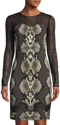 Roberto Cavalli Snake-Print Sheer-Sleeve Sheath Dress