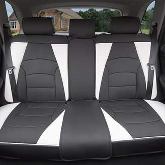 FH Group Ultra Leatherette Rear Bench Seat Cushions, White and Black
