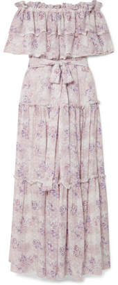 LoveShackFancy Sophia Off-the-shoulder Ruffled Floral-print Fil Coupé Maxi Dress - Pastel pink