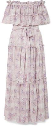 LoveShackFancy Sophia Off-the-shoulder Ruffled Floral-print Fil Coupé Maxi Dress - Pastel pink