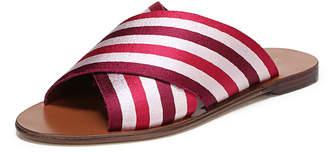Diane von Furstenberg Bailie-2 Striped Crisscross Flat Slide Sandal