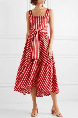 DAY Birger et Mikkelsen Silvia Tcherassi - Samantha Tiered Striped Silk-blend Satin Midi Dress