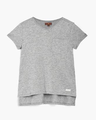 7 For All Mankind Girl's S-XL High-Low Tee in Heather Grey