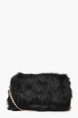 boohoo Foldover Faux Fur Cross Body