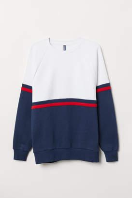 H&M Color-block Sweatshirt - Blue