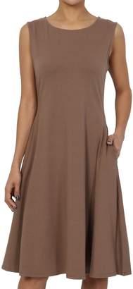 TheMogan Women's Sleeveless Pocket Stretch Cotton Fit & Flare Dress 1XL