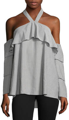 Libby Edelman 3/4 Sleeve Tiered Ruffle Blouse