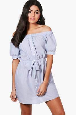 Damen Katy Schulterfreies Kleid mit vorderseitiger Bindung in Blau größe