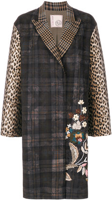 floral embroidery checked coat