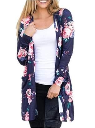 Lovaru Autumn Fall Women Long Sleeve Floral Cardigan Top