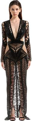 Julien Macdonald Open Back Beaded Gown With Cutouts